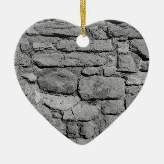 Stone Wall. Black and white. Christmas Ornament