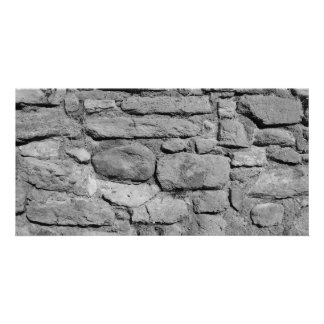 Stone Wall. Black and white. Photo Card Template