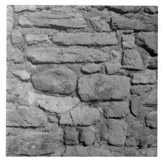 Stone Wall. Black and white. Tile