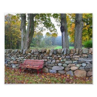 Stone Wall In Autumn Photo Print