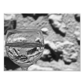 Stone Wall Through a Glass of Water Photo Print