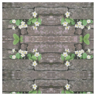 Stone wall with primroses fabric