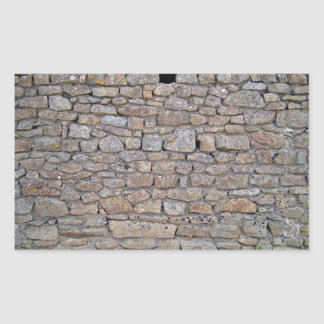 Stone Wall With Single Hole and Small Plants Rectangular Sticker