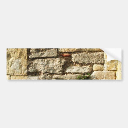 Stone Wall. With small plant. Bumper Sticker