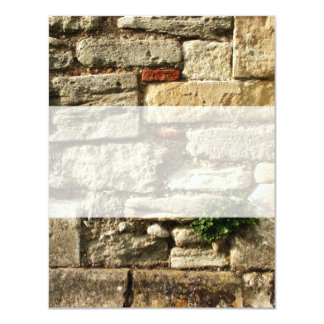 Stone Wall. With small plant. Personalized Invitation