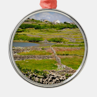 Stone Walls of Ireland Silver-Colored Round Decoration