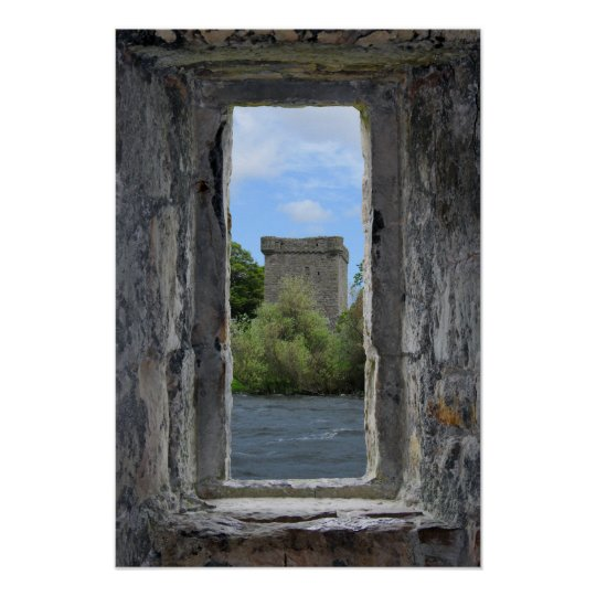 Stone Window framing a Scottish Castle Poster