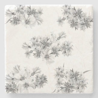 Stone with handdrawn Folk flowers Stone Coaster