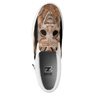 STONE WOOD CARVED SMILING TIKY MASK SLIP ON SHOES