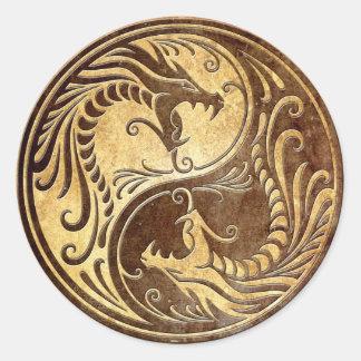 Stone Yin Yang Dragons Classic Round Sticker