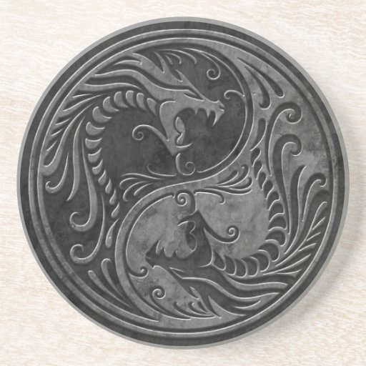 Stone Yin Yang Dragons Drink Coaster