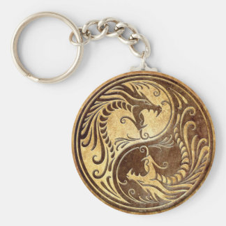 Stone Yin Yang Dragons Key Ring
