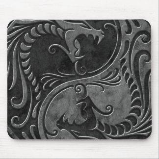 Stone Yin Yang Dragons Mouse Mat