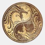 Stone Yin Yang Dragons Round Sticker