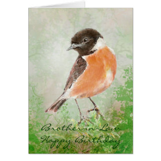 Stonechat  Bird Happy Birthday Brother-in-Law Greeting Card