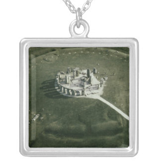 Stonehenge from the air silver plated necklace