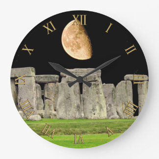 Stonehenge Standing Stones at Moonrise Wall Clock