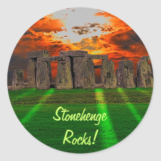 Stonehenge Standing Stones at Sunset Classic Round Sticker