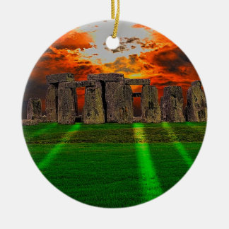 Stonehenge Standing Stones at Sunset Double-Sided Ceramic Round Christmas Ornament
