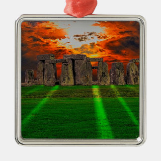 Stonehenge Standing Stones at Sunset Silver-Colored Square Decoration