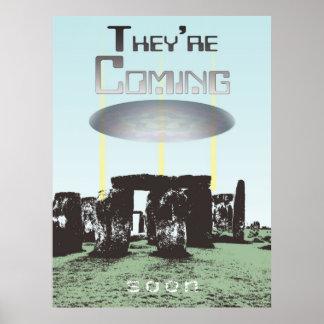 Stonehenge UFO Landing They're Coming Soon... Print