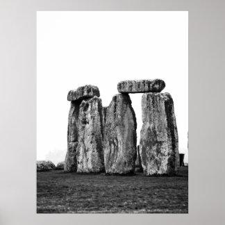 Stonehenge, UK, Black and White Print