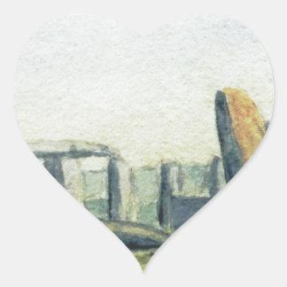 Stonehenge Watercolours Heart Sticker