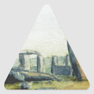 Stonehenge Watercolours Triangle Sticker