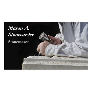 Stonemason carving block of stone pack of standard business cards