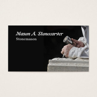 Stonemason with mallet and chisel business card