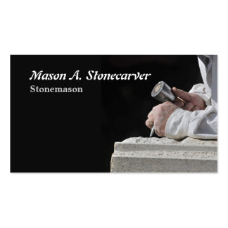 Stonemason with mallet and chisel pack of standard business cards