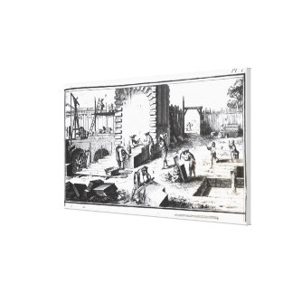 Stonemasons at work, engraved by Lucotte Canvas Print
