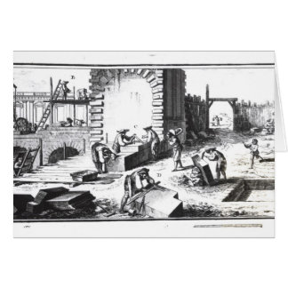 Stonemasons at work, engraved by Lucotte Card