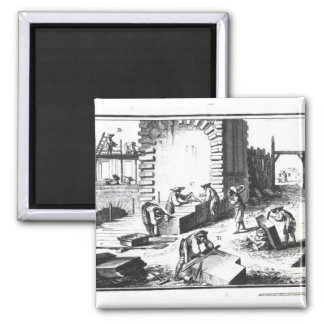 Stonemasons at work, engraved by Lucotte Magnet