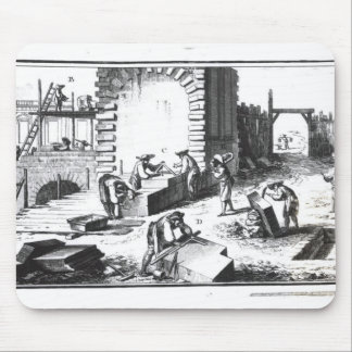 Stonemasons at work, engraved by Lucotte Mouse Mat