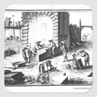 Stonemasons at work, engraved by Lucotte Square Sticker