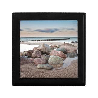 Stones on shore of the Baltic Sea Small Square Gift Box