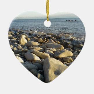 stones on the beach ceramic heart decoration