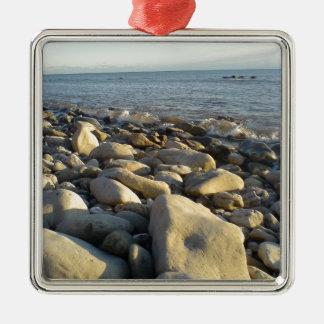 stones on the beach christmas ornament