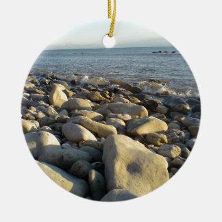 stones on the beach round ceramic decoration