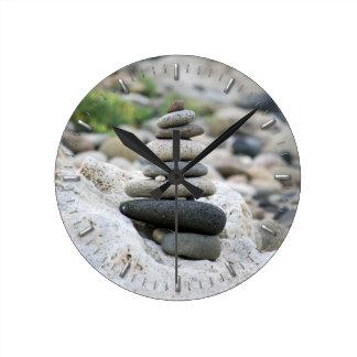 Stones zen in the beach of Almeria Round Clock