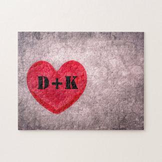 Stonewashed Heart Monogram Personalize Puzzles