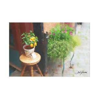 Stool and Oranges Canvas Print