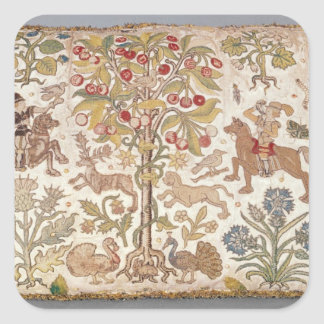 Stool cover, damask, late 16th century square sticker
