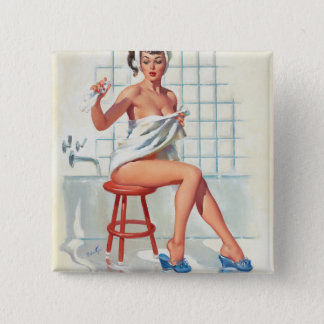 Stool pigeon sexy bathroom retro pinup girl 15 cm square badge
