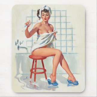 Stool pigeon sexy bathroom retro pinup girl mouse mat