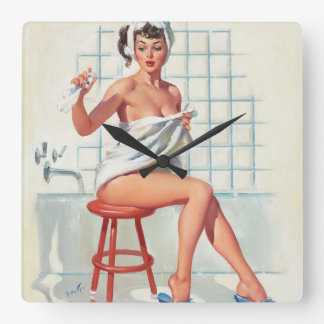 Stool pigeon sexy bathroom retro pinup girl square wall clock