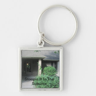 Stoopin It In The Suburbs Silver-Colored Square Key Ring