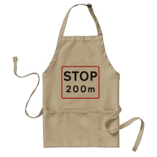 Stop 200 Meters Road Sign Apron