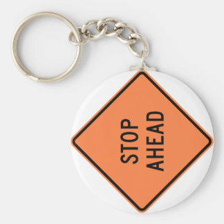 Stop Ahead Highway Construction Sign Basic Round Button Key Ring